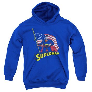 Superman - American Flag Youth Pull Over Hoodie
