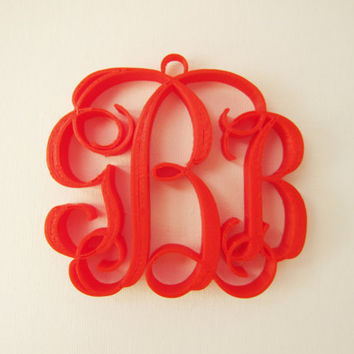 Custom 3d Printed Wedding Monogram Initials design Christmas decor initial Ornaments gifts Tree Decoration Holiday 3-D  art Print Geekery