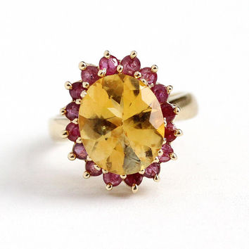 Estate Citrine Ring - 10k Yellow Gold Genuine Citrine & Ruby Statement - Vintage Size 6 Yellow and Red Gemstone Halo Cluster Fine Jewelry