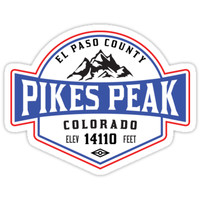 'PIKES PEAK COLORADO Skiing Ski Mountain Mountains Snowboard National Forest' Sticker by MyHandmadeSigns