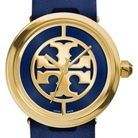 Women's Tory Burch 'Reva' Leather Strap Watch, 36mm - Navy/ Gold
