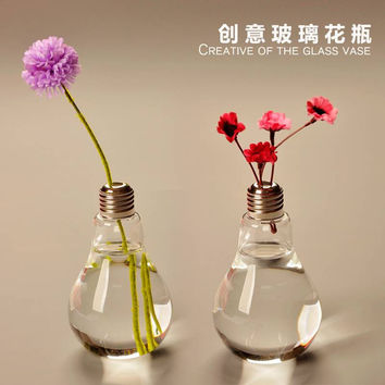 Flower Pots Planter Home Decor creative hanging glass lamp light bulb shaped crystal flower vase