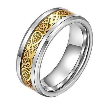 ac spbest LASPERAL Stainless Steel Dragon Scale Pattern Beveled Rings Jewelry High Quality Finger Ring Wedding Engagement Rings For Women