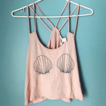 Mermaid gypsy boho tumblr disney seashell pink crop top