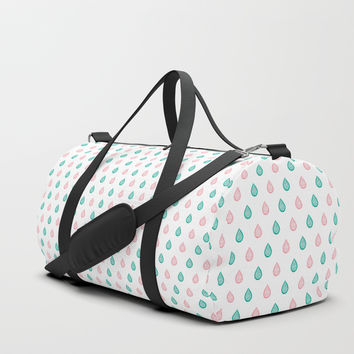 Turquoise and coral raindrops Duffle Bag by Savousepate