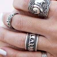 Silver Elephant Ring Set