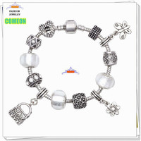 2015 European Beads Flower Murano Crystal Beads Charms Metal Pandora Bracelets Dangles New Jewelry for women