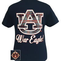 Auburn Tigers War Eagle Plaid Big Logo Bright T-Shirt