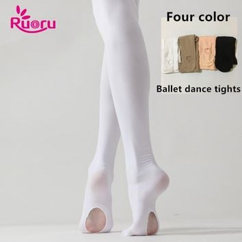 ff6ffdde44086 Ruoru Professional Kids Children Girls Ballet Tights White Ballet Dance  Leggings Pantyhose with Hole Nude Black