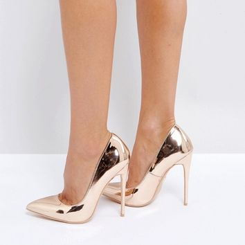 Lost Ink Wide Fit Rose Gold Heeled Court Shoes at asos.com