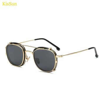 Gold Black Steampunk Sunglasses Men Ray Sunglass Mirrored Fashion Polarized Clip on Sunglasses Mirror Punk Trendy Glasses 2017