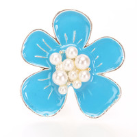 Silver Turquoise High Polish Faux Pearl Flower Ring