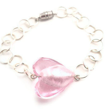 Chain Bracelet with Pink Heart by Septagram on Etsy