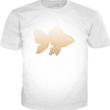 Gradient orange and white swirls doodles Goldfish Classic T-Shirt White