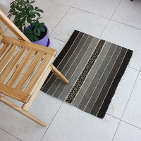 Striped handwoven wool floor mat, home decor rug in natural brownpalette colors and white