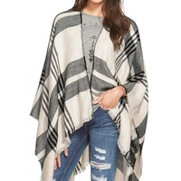 Junior Women's BP. Plaid Poncho - Black
