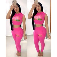 GUCCI new women's letter printing sports suit two-piece Rose red