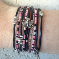 Boho Wrap Bracelet - Adjustable hot pink black and pearl Infinity Multi Strand Silver Tibetan Beaded Bracelet- Teen Gift