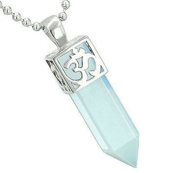 Positive Energy Ancient OM Amulet Magic Powers Crystal Point Lucky Charm Opalite