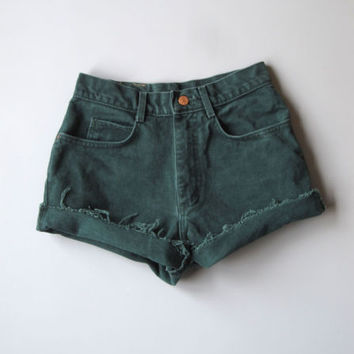 """Vintage 90s High Waisted Cut Off Denim Shorts Mom Jeans Green 7 Distressed 25"""""""