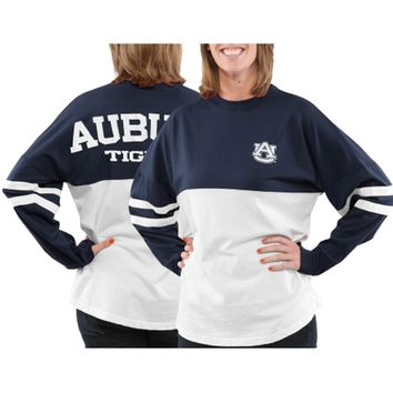 Auburn Tigers Women's Varsity Sweeper Long Sleeve Jersey Top – Navy Blue