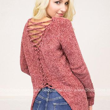 Lace-Up Ribbed Trim Knit Sweater