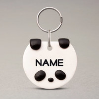 Panda Pet ID Tag - Cute Name Tag, For Cats Dogs, Handmade For Pets