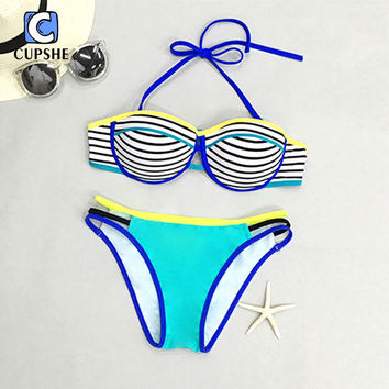 CUPSHE 2016 Hot Women Bright Color Stripe Printing Halter Bikini Set Beach Suit  Biquini