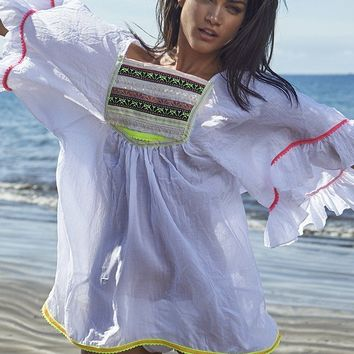 Irgus Swimwear White w/ Neon Color Embroidery & Lace Trim Ruffle Sleeve Cover-Up Resort Beachwear (Also in Black)