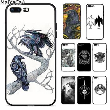 MaiYaCa Viking odin norse Huginn and Muninn bird Funny Phone Case Cover for Apple iPhone 8 7 6 6S Plus X 5 5S SE XS XR XS MAX