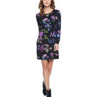 Sketched Floral Pi Sketched Floral Jersey Shift Dress by Juicy Couture,
