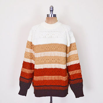 Vintage 70s Irish Fisherman Sweater Jumper Cable Knit Sweater Brown Stripe Sweater Slouchy Oversize Sweater 70s Sweater Hippie Sweater S M L