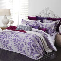 The Crane Bedding in Ivory & Violet design by Florence Broadhurst