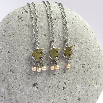 Dove And Eggs, Beige Pearls Sterling Silver Necklace, Brass Swallow Pendant Bird Jewelry, Gift For Mom