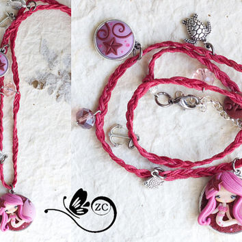 bracelet/necklace with fairy/ siren / zingaracreativa / fimo doll