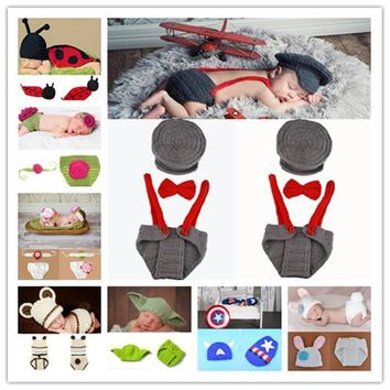 Cute !! Soft Newborn Baby Photography Props Baby Hat Baby Cap Baby Girl/Boy Clothes Newborn Crochet Outfits free shipping