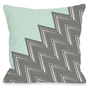 """Maxine Chevron"" Indoor Throw Pillow by OneBellaCasa, Aqua/Gray, 16""x16"""