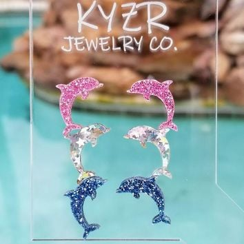 Dolphin earring set- Pink/ Lt blue and holographic star glitter dolphin stud set