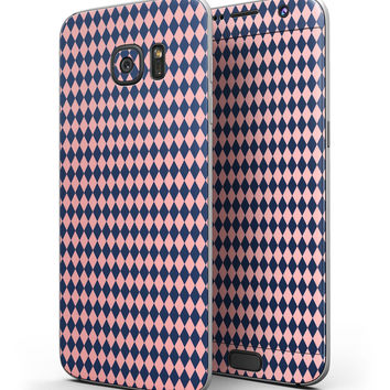 Navy and Coral Checkerboard Pattern - Full Body Skin-Kit for the Samsung Galaxy S7 or S7 Edge