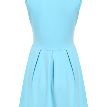 Blue Stretchable Skater Dress