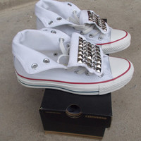Studded Rhinestone Converse Shoes by ChaoticMayhem on Etsy