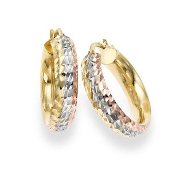 14kt Yellow Gold Tri Color Diamond Cut Hoop Earring