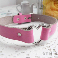 Pink Leather Heart Ring Choker, Pink Heart Choker, Pink Leather Choker, Leather Heart Choker, Pink Heart Ring Choker, Fairy Kei Choker