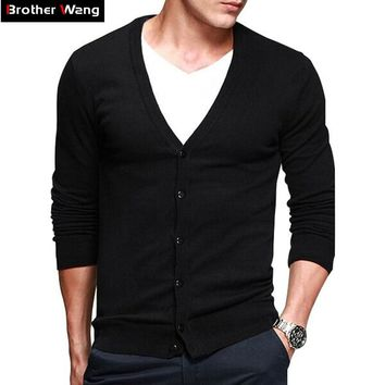 12 Colors New Men's Cardigan Sweater 100% Cotton Slim Solid Color High Quality Fashion Casual Knitting Sweater Male