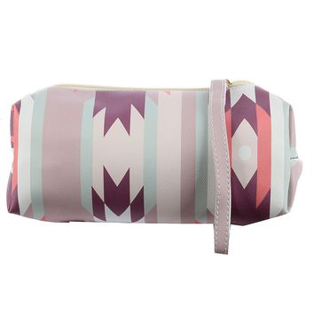 Mulit Color Tribal Print Vinyl Pouch Wallet Bag Accessory