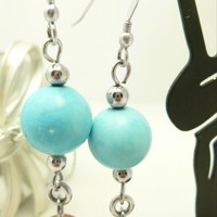 Amber Topaz Glass Blue Turquoise Gemstone Sterling Beaded Earrings