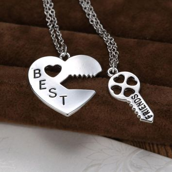 Personalized heart puzzle necklace silver heart Lock and Key pendant unique couple Necklaces best friend engraved necklace