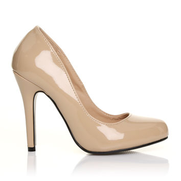 HILLARY Nude Patent PU Leather Stilleto High Heel Classic Court Shoes