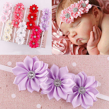 Baby girl Headband Soft Ribbon Flower Hair Band 7 Colors Pop US1 LS