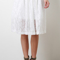 Women's Semi Sheer Floral Lace Skirt